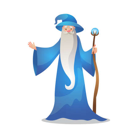 Wizard character poses with the wand. Colorful raster illustration in flat cartoon style