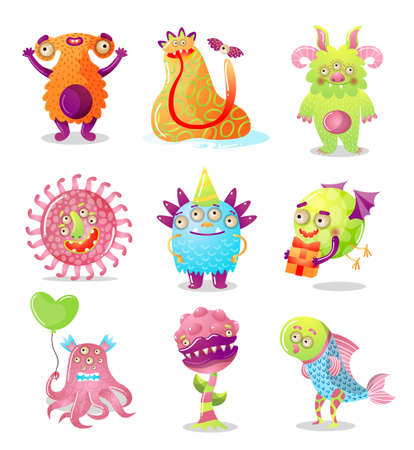 Colorful set of cartoon monsters.Raster illustration in flat cartoon style