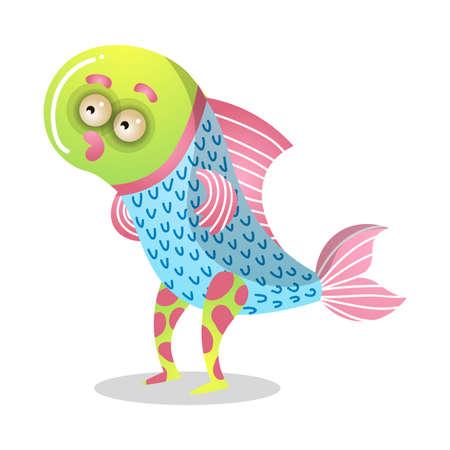 Cute cartoon monster.Raster illustration in flat cartoon style