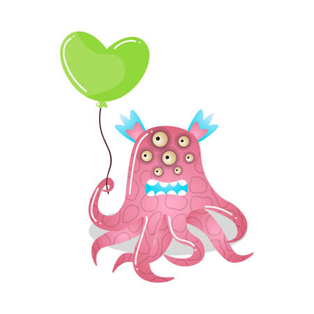 Cute cartoon monster.Raster illustration in flat cartoon style