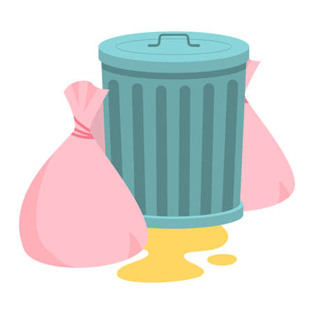 Steel garbage container with trash bags. Raster illustration in flat cartoon style on white background