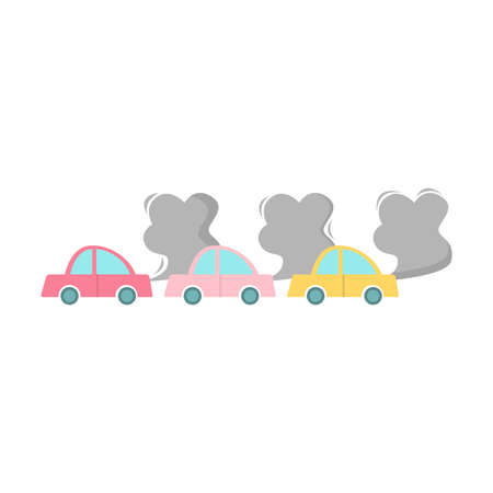 Car air pollution. Raster illustration in cartoon style on white background