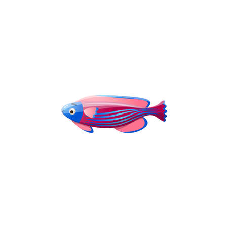 Multi-colored tropical underwater fish. Cute cartoon of exotic sea fish.Isolated raster icon illustration on white background in cartoon style. 向量圖像