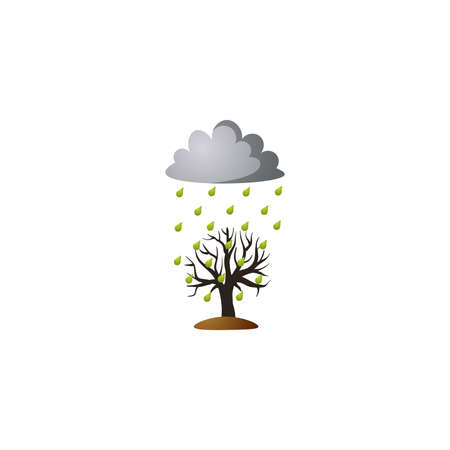 Acid rain from a cloud on the tree. Raster illustration in the flat cartoon style