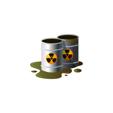 Toxic emissions in metal barrels with radioactive waste and spilled liquid.Clipart raster flat illustration