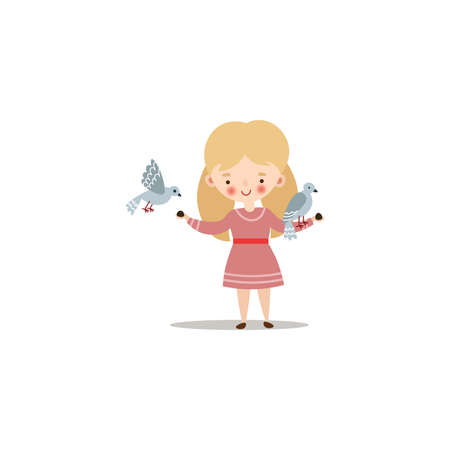Cute little girl feeding doves with sunflower seeds. Raster illustration in flat cartoon style