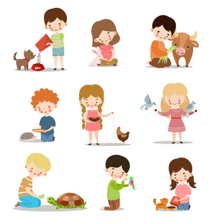 Set with kids feeding and taking care of wild and pet animals. Raster illustration in flat cartoon style