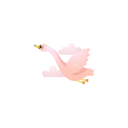 Cute pink flying swan on white background among pink clouds raster illustration. Design for the logo. print, party decoration, t-shirt print, kids wear fashion design, emblem or sticker, etc