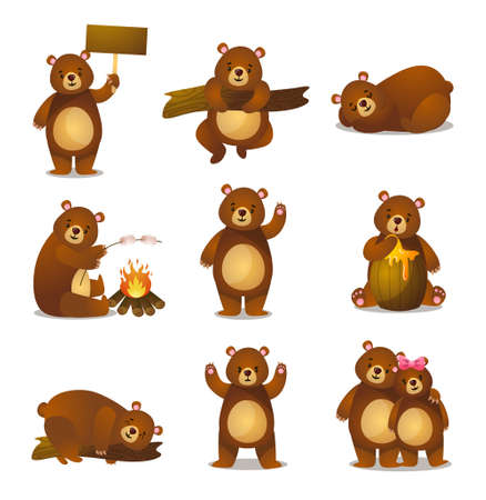 Cute funny cartoon set friendly bear in different activities, emotion, greeting, climbing, sleeping, eating marshmallows, honey, dreaming, angry, couple teddy bear Ilustração