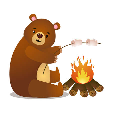 Cartoon soft cute teddy bear relax on picnic cooking marshmallows and bonfire