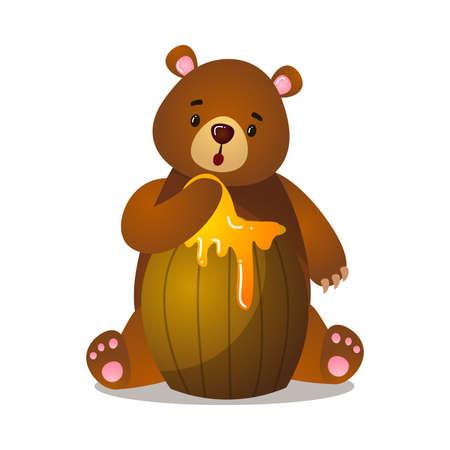 Ours grizzli brun de dessin animé mignon surpris et perplexe avec une patte dans un baril de miel