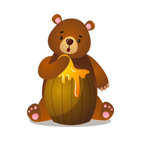 Surprised and puzzled cute cartoon brown grizzly bear with paw in barrel of honey Ilustração