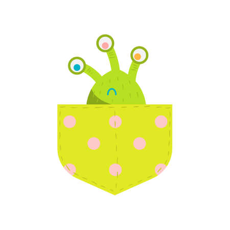 Cute green monster silhouette with three eyes in the light green pocket looking up. Design for the print, party decoration, t-shirt, illustration or sticker Colorful raster isolated icon