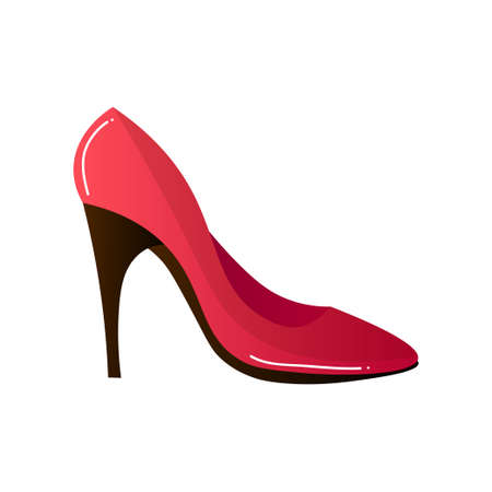 Red pumps shoes. Raster illustration in the flat cartoon style. Archivio Fotografico - 129828423