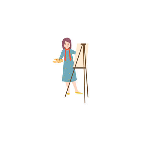 The female artist in blue dress paints a picture on canvas. Talented painter at the working process concept. Isolated raster icon illustration on white background in cartoon style.