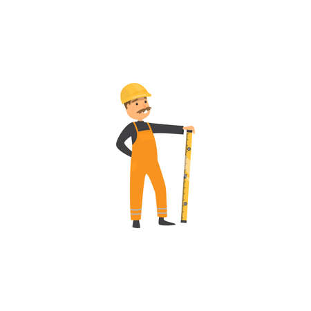 Cute friendly builder with helmet, holding a level bubble. Worker at the construction site concept.Isolated raster icon illustration on white background in cartoon style.