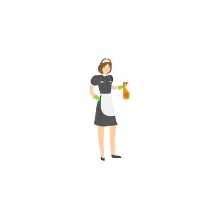 Maid with a squirting spray bottle. Raster illustration isolated on white background Ilustracja