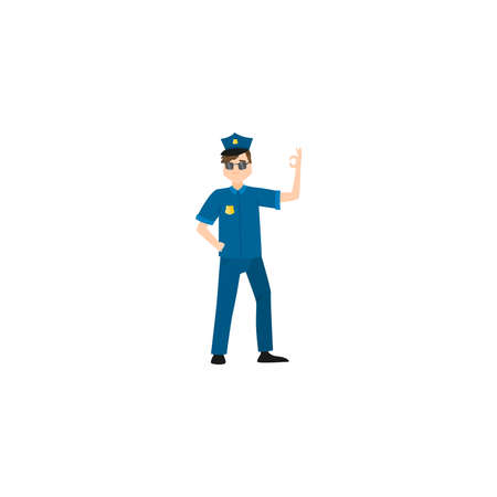 Policeman character in dark blue pants, light blue shirt, and dark showing OK sign. Isolated raster icon illustration on white background in cartoon style.