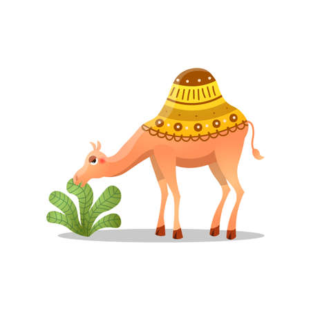 Dromedary camel with a saddle. Raster illustration in flat cartoon style on white background. Illustration