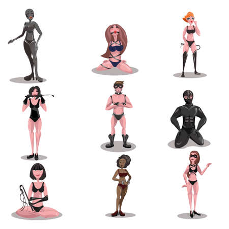 BDSM mistress and slave set. Raster illustration in flat cartoon style