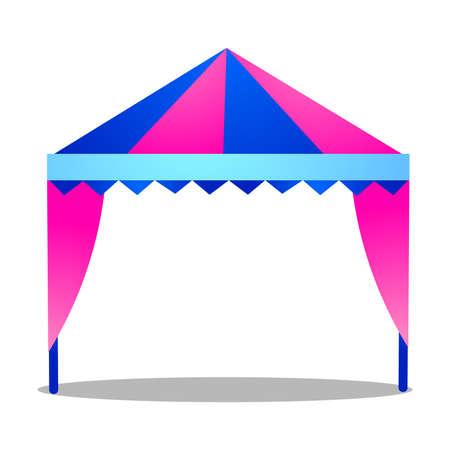Folding tent. Raster illustration isolated on white background Illustration