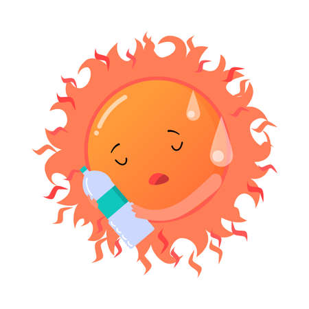 Red tired sun suffering from heat illustration