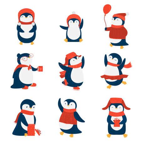 Insieme dei pinguini. Illustrazione raster in stile cartone animato piatto