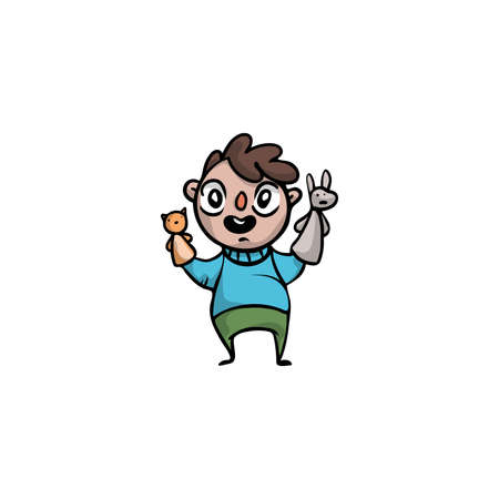 Boy puppeteer holding animals puppets on hands illustration