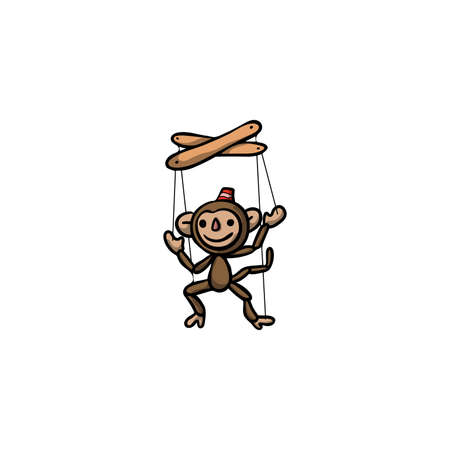 Smiling brown monkey puppet doll in cap illustration