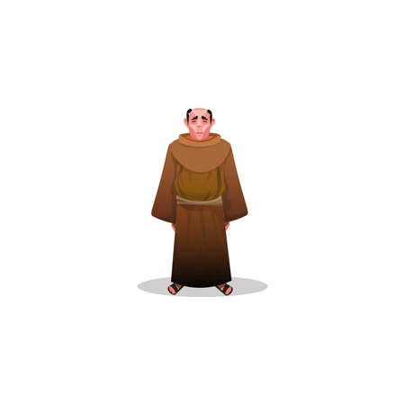 Catholic monk in brown shabby dress and sandals illustration