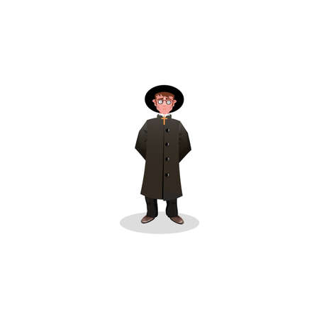 Catholic priest in black costume and hat illustration