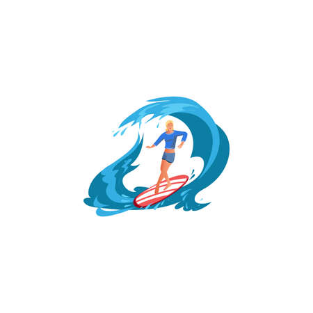 Surfer girl in action. Raster illustration in flat cartoon style Иллюстрация