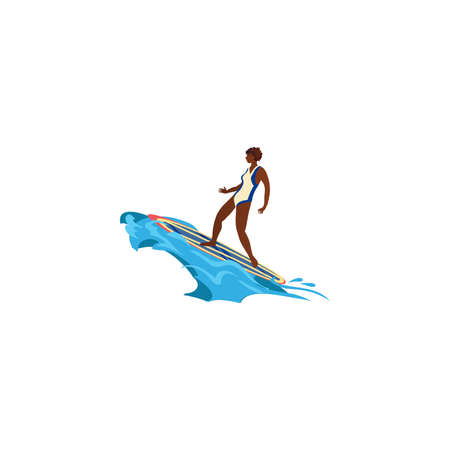 Black surfer girl in action. Raster illustration in flat cartoon style