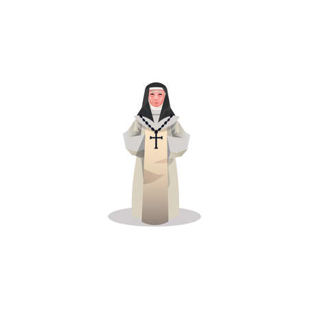 Hand drawn old female catholic nun in long light dress and black hood over white background illustration. Catholicism religious appearance concept