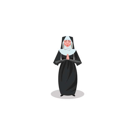 Catholic nun in long black dress and hood illustration