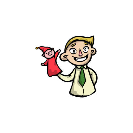 Puppeteer with clown puppet in red clothes. Raster illustration in flat cartoon style