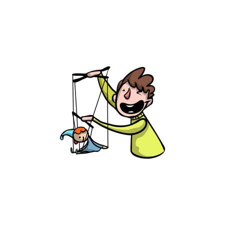 Burattinaio con un burattino del clown. Illustrazione raster in stile cartone animato piatto