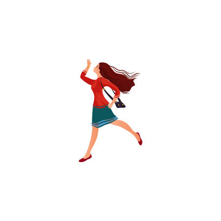 Young woman being in hurry to meet boyfriend vector illustration Иллюстрация
