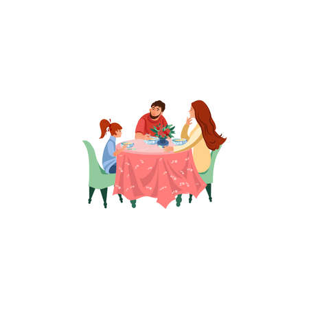 Parents and daughter eating dinner together illustration