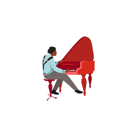 Black male jazz musician playing red piano illustration