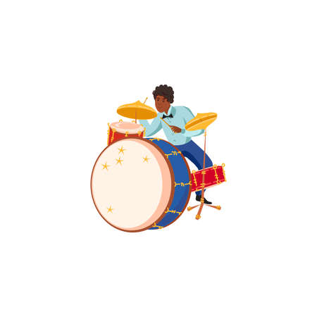 Young black male jazz musician playing drums illustration