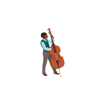 Black male musician in costume playing cello illustration