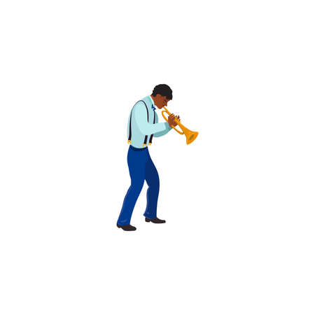 Black male jazz musician playing trumpet illustration Иллюстрация
