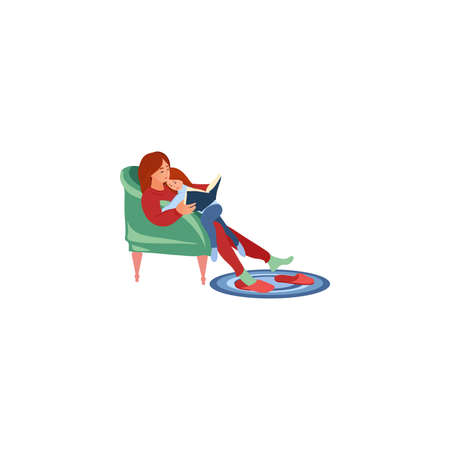 Hand drawn mother and daughter sitting in armchair and reading book together over white background vector illustration. Family everyday life concept