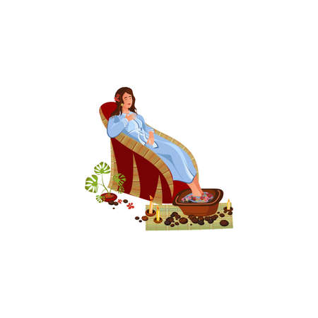Young woman having spa pedicure procedure vector illustration in flat cartoon style Иллюстрация