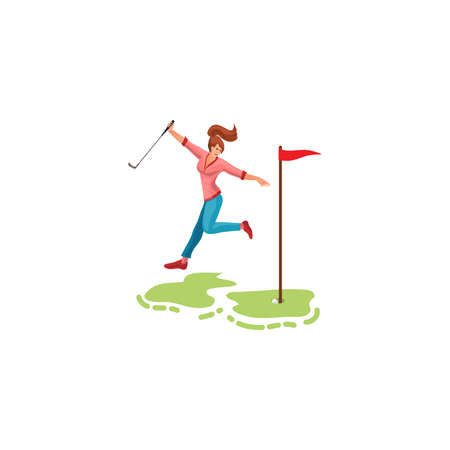 Young woman feeling happy with golf game result vector illustration