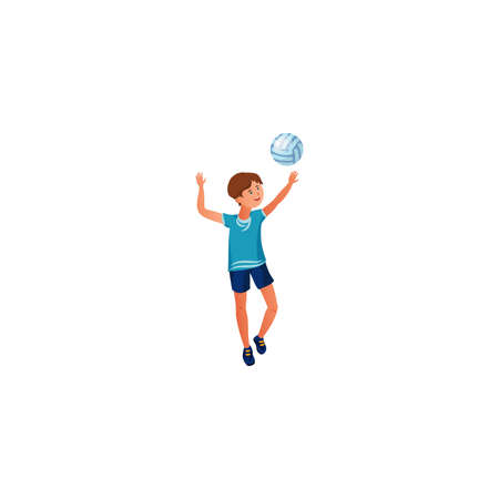 The teenage boy plays volleyball in a blue t-shirt. Vector illustration in the flat cartoon style