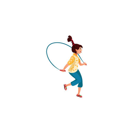 The teenage girl plays skipping rope. Vector illustration in the flat cartoon style