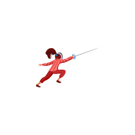Brunette girl in red clothes fencing in a protective mask with a rapier. Children sport activity concept. Isolated vector icon illustration on a white background in cartoon style. Иллюстрация