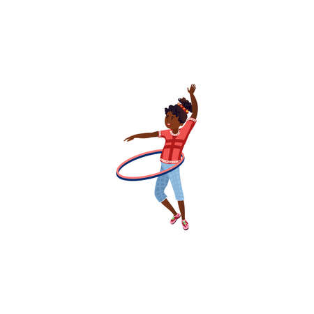 The teenage girl twisting hoop. Vector illustration in the flat cartoon style Иллюстрация
